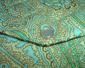 Green Quilted Paisley Envelope Clutch