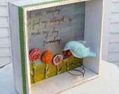 Flower Garden and Blue Bird Shadow Box