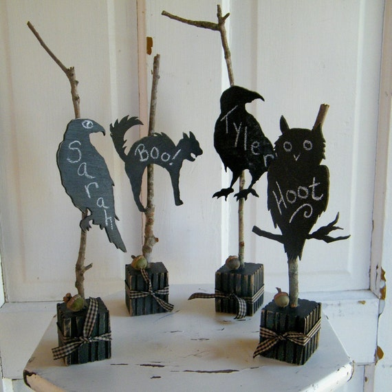 Chalkboard Black Silhouettes Twig Place-cards Halloween Set of 4