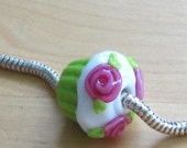 Key LIme and Pink Roses Glass Pandora Style Cupcake Bead
