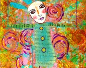 Hanging By Threads ORIGINAL Mixed Media Collage Painting Print