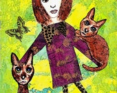 The Cat Lady ORIGINAL Mixed Media Collage Print
