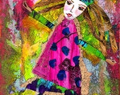 Uptown Girl ORIGINAL Mixed Media Collage Painting print