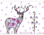 Lovely Deer  - Extra Large 5 Postcard Set