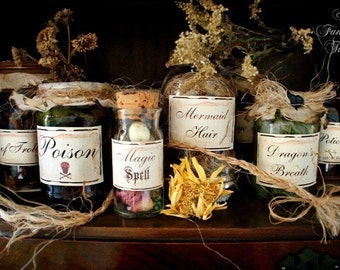 Potions and Spells - Enchantment Set - 10- Ingredient Labels/stickers