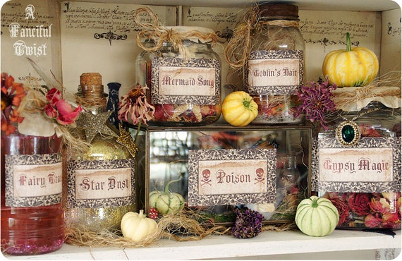 Potions and Spells Apothecary Jar Labels -Magical Makings Set of 6