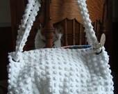 vintage CHENILLE bedspread Carpetbag - polkadot nubbiness in white - diaper bag, beach bag
