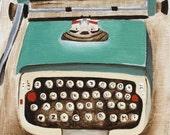 Typewriter Print - Typewriter - Green Typewriter - Art Print Office Decor - Wall Art Prints - 8x10 Art Print - Little Green Typewriter