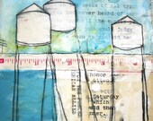 Art Print - Wall Art Decor - Home Decor - Print of Watercolor Painting - Print of Collage - 8x10 Print - Water Towers