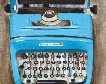 Art - Typewriter Artwork - Typewriter Art - Wall Art Prints - Home Decor - Blue Typewriter Print - 8x10 Art Print - Olivetti Typewriter