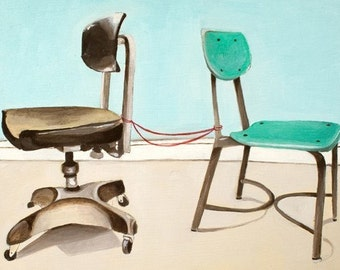 Art Print Office Decor - Chair Art Print - Print of Oil Painting - Two Chairs Art Print - Office Art - Office Chair Print - Still Here