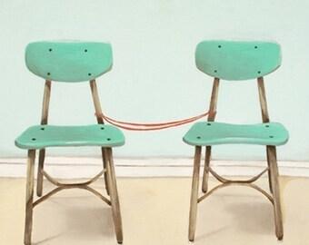 School Chairs Art Print - Art Print - Print of Oil Painting - 8x10 Print - Home Decor - Together