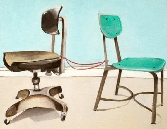Art Print Office Decor - Chair Art Print - Print of Oil Painting - Two Chairs Art Print - Office Art - Office Chair Print - Still Here