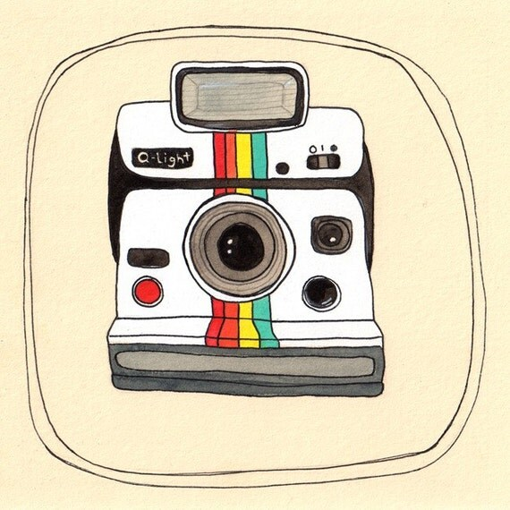 Zany image with polaroid camera printable