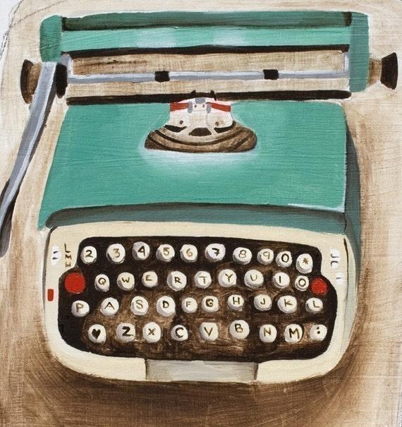 Typewriter Art Print 8x10 -Little Green Typewriter