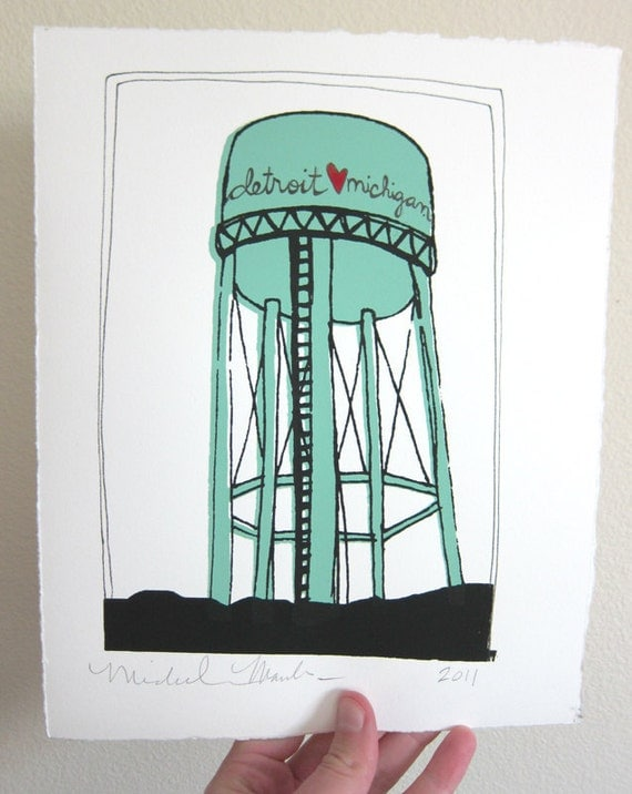 Detroit Water Tower Screen Print - Detroit Heart Michigan