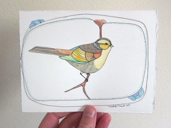 Bird Painting on Paper - Little Yellow Friend