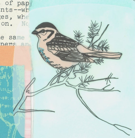 Cyber Monday Sale Etsy - Limited Edition Collage Bird art Print - Sparrow number 27/30