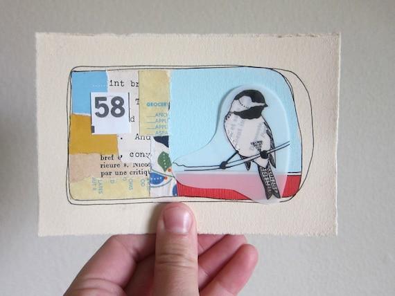 Chickadee Bird art Collage Mixed Media - Sweet 58