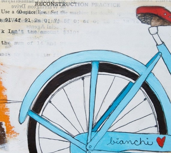 I Heart My Bike...Original Mixed Media Painting