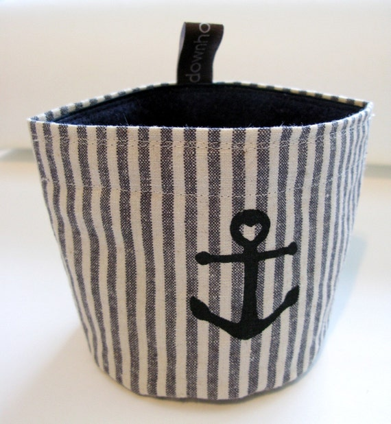 reusable snack pouch, nautical, striped size small
