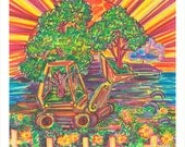 Art Print, Giclee, Hope, Tractor, Island, Eco-Friendly, Environmental, Nature, Green, Peace, Tree, Caribbean, Activist, Visionary, Guide