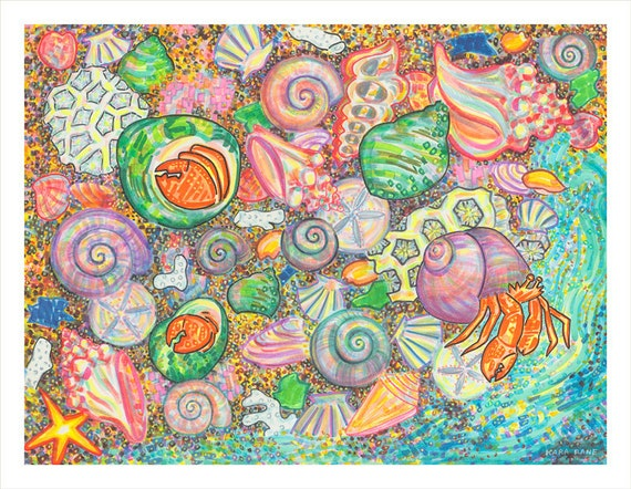 Art Print, Giclee, Nature Wall Art, Sea Shell, Starfish, Tide Pool, Crab, Colors, Paradise, Marine Life, Ocean, Sea, Nautical, Beach, Shore