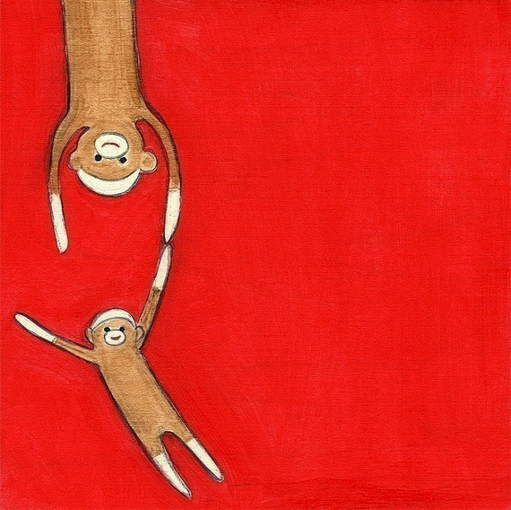 sock monkeys 2 - 8.5 x 11 print by Marisa and Creative Thursday