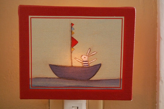 bunny in a boat NIGHT LIGHT - In Stock
