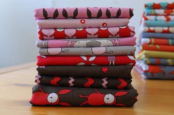 Ric Rac Rabbits - FABRIC BUNDLE- pink/grey/red/chocolate