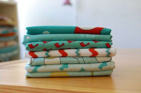 Santa Claus is coming to Town - Holiday - FABRIC BUNDLE turquoise/red