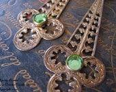 SPRING DRAMA Vintage Brass Baroque Iced PERIDOT Green Glass Earrings