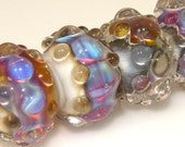 Handmade Lampwork Beads - Encased Ivory and Cool Colors Single Bead - DL Homola - SRA
