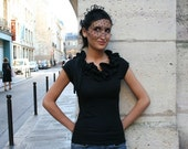 coton tee with large ruffled neckline - COCO