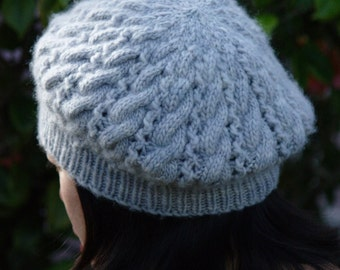 Pattern - Cabled Double Eyelet Beret PDF file