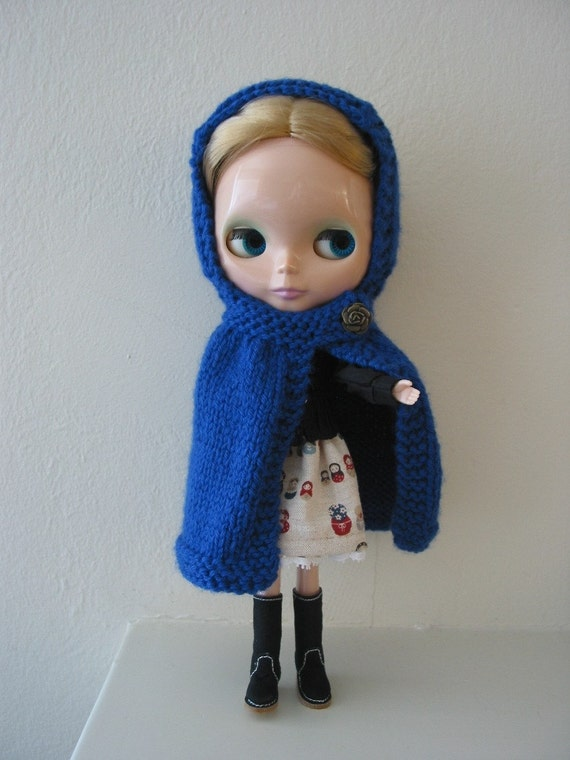 Knit Wool Blythe Cape with Hood, Blue with Bronze Rose Button