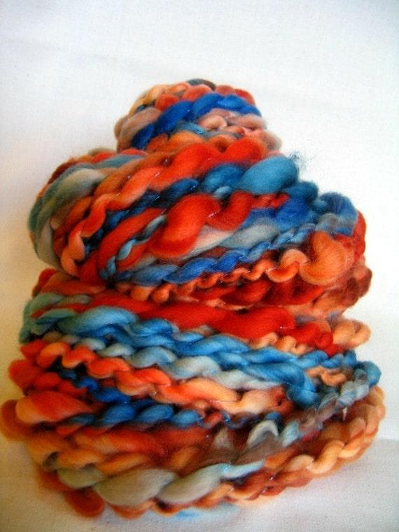 Handspun Art Yarn - Super Wash Merino Wool - Jupiter