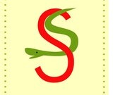 letter s nursery alphabet print  5 x 7