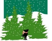 black lab in evergreens winter scene print in mat