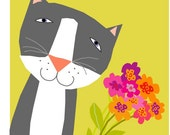 Greeting cards sweet gray cat with flowers