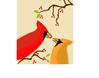 greeting cards winter cardinals