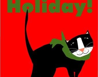 tuxedo cat happy holiday greeting card