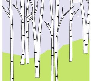 spring fox in birch forest 8 x 10 inch print in 11 x 14 mat