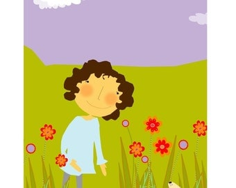 girl with puppy in flowers matted print nursery wall decor
