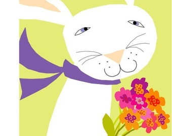 greeting card white bunny with a flower bouquet