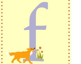 Alphabet print Letter F nursery art with fox