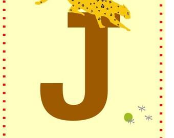 letter J alphabet print 5 x7 wall decor