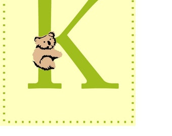 Letter K alphabet nursery art print