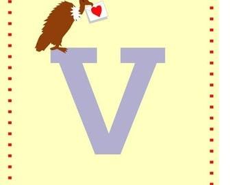 letter v nursery alphabet card