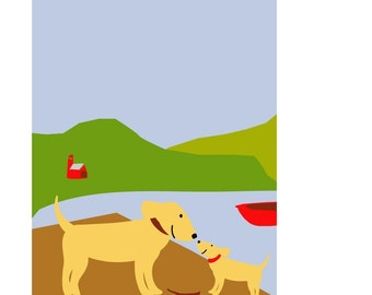 dog and puppy summer lake 8 x 10 print in mat